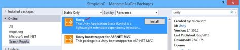 Nuget (OR Package Manager Console) de cai Ninject and Unity