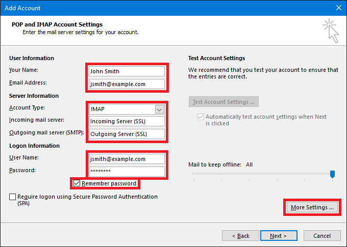 More settings - Outlook-POP-and-IMAP-Account-Settings