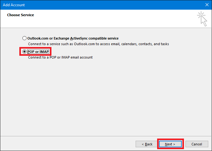 Outlook-Select-POP- or-IMAP-Service