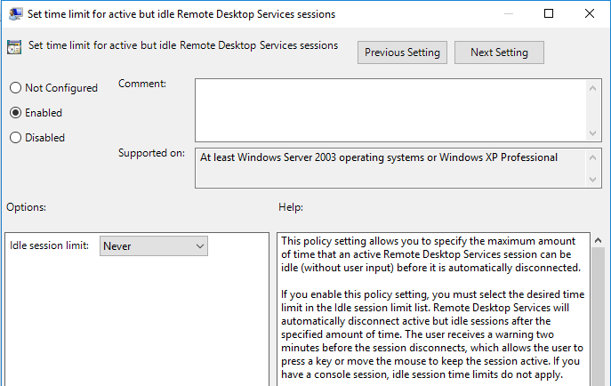 Set Time Limit for Idle Remote Desktop Services Sessions